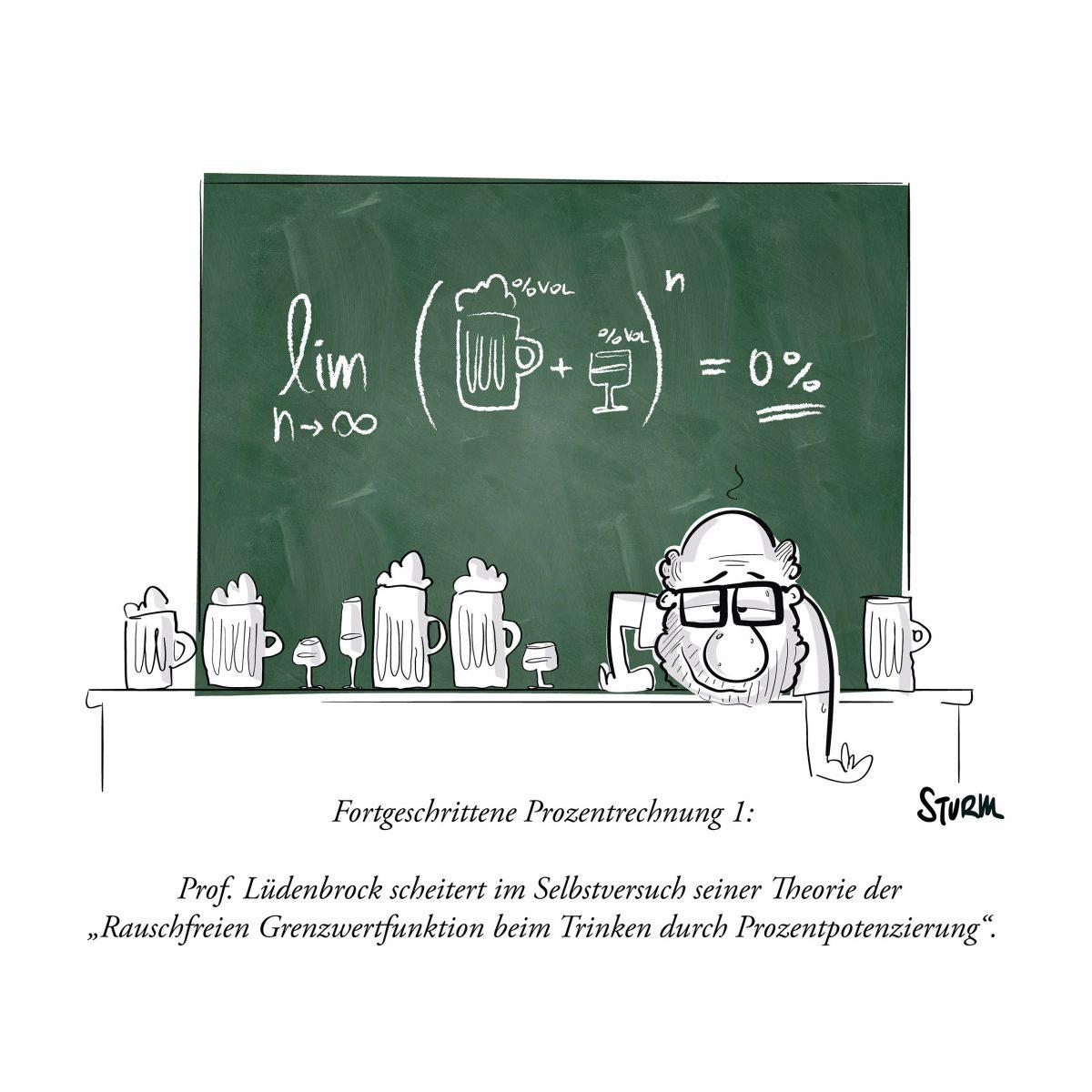 Fortgeschrittene Prozentrechnung – Cartoon von Philipp Sturm