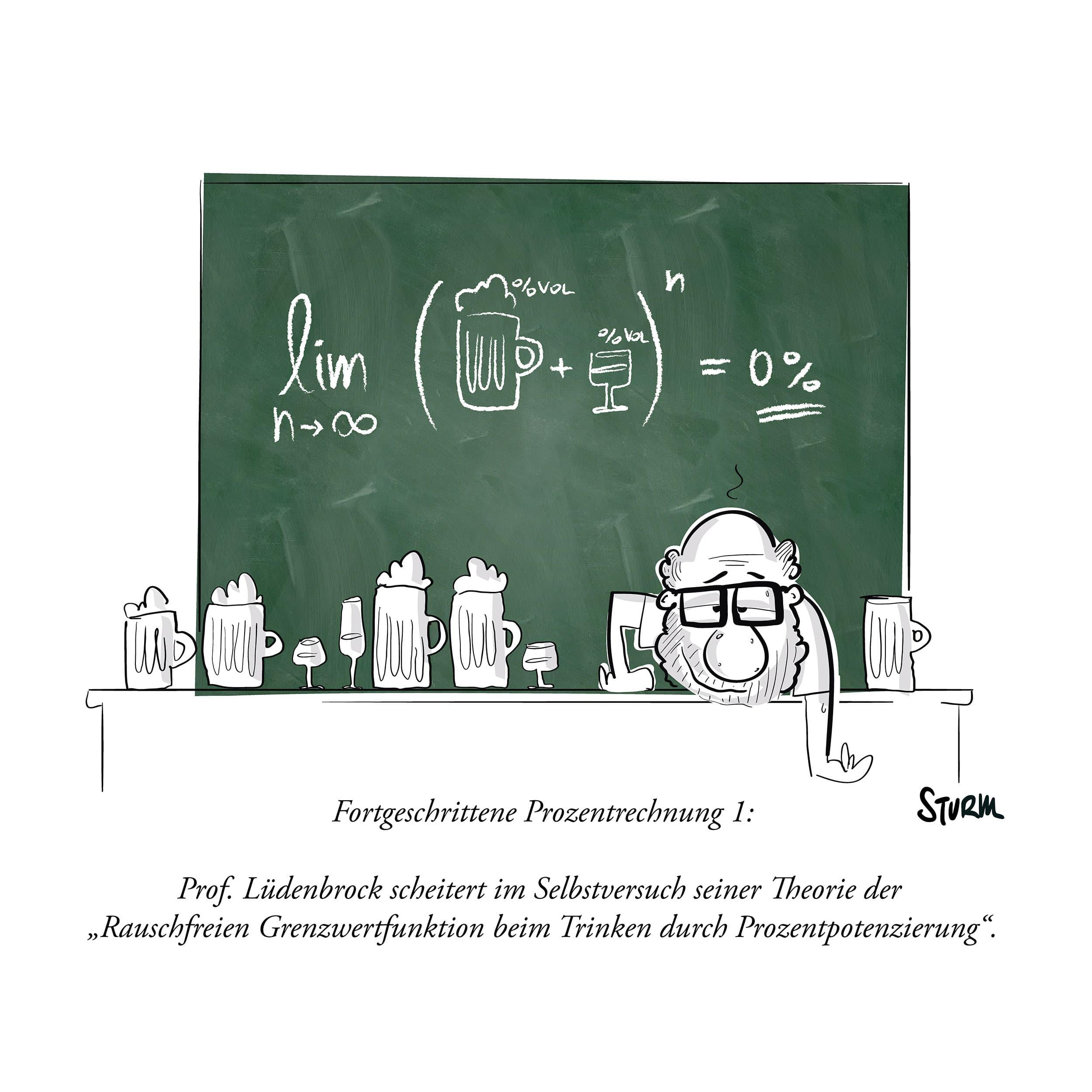 Advanced percentage calculation  – Cartoon by Philipp Sturm