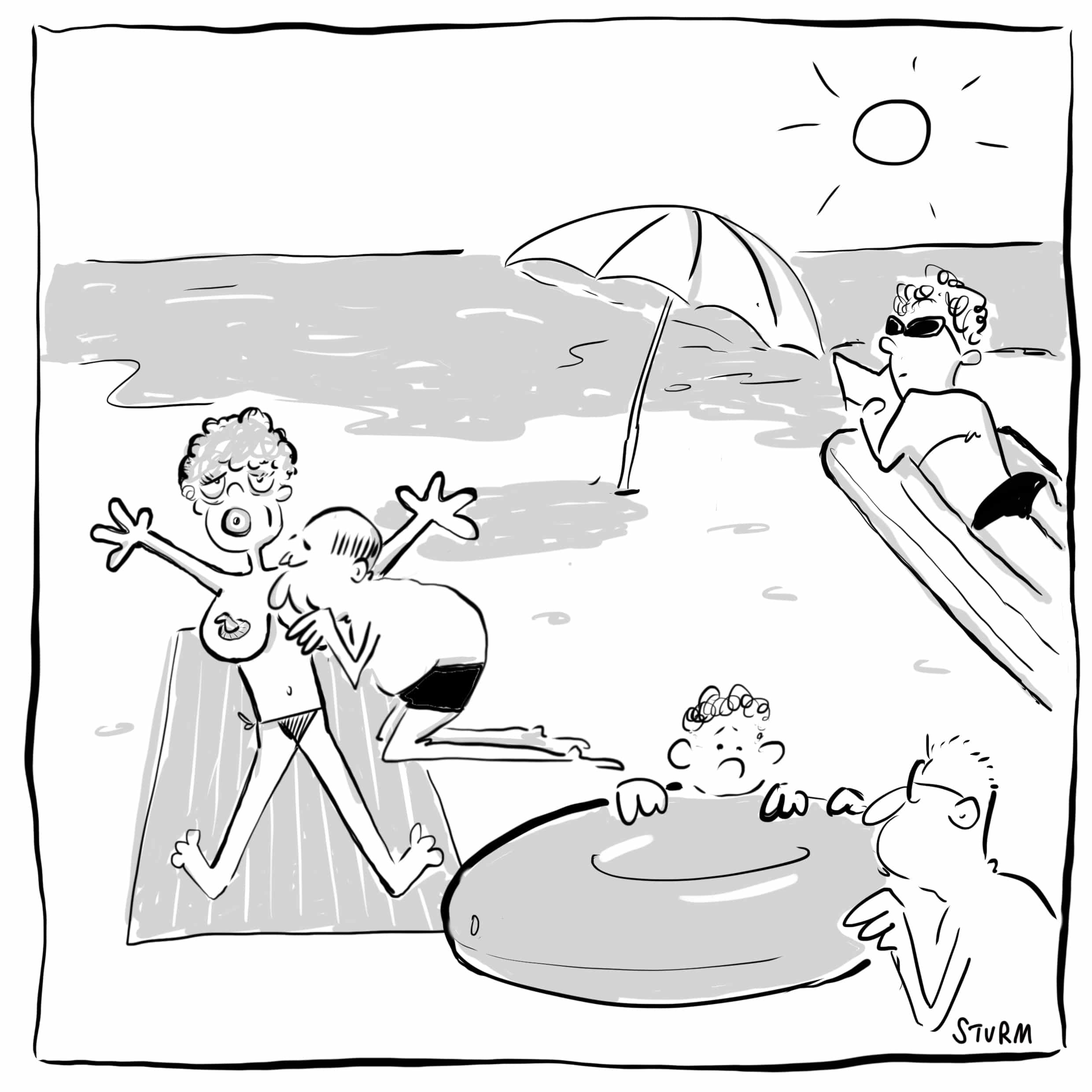 Sexpuppe am Strand – Cartoon Philipp Sturm