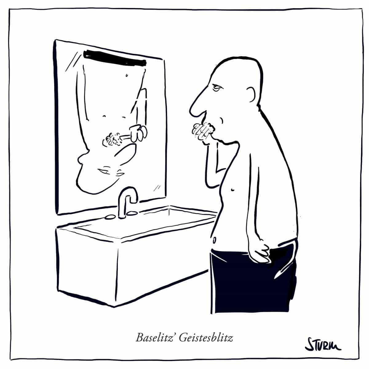 Baselitz' Geistesblitz –Cartoon von Philipp Sturm