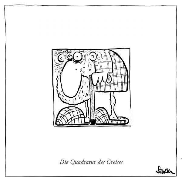 Die Quadratur des Greises –Cartoon von Philipp Sturm