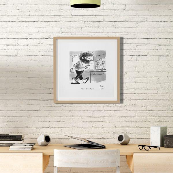 Kunstdruck Homo Homeofficensis Cartoon Philipp Sturm Beispielrahmen
