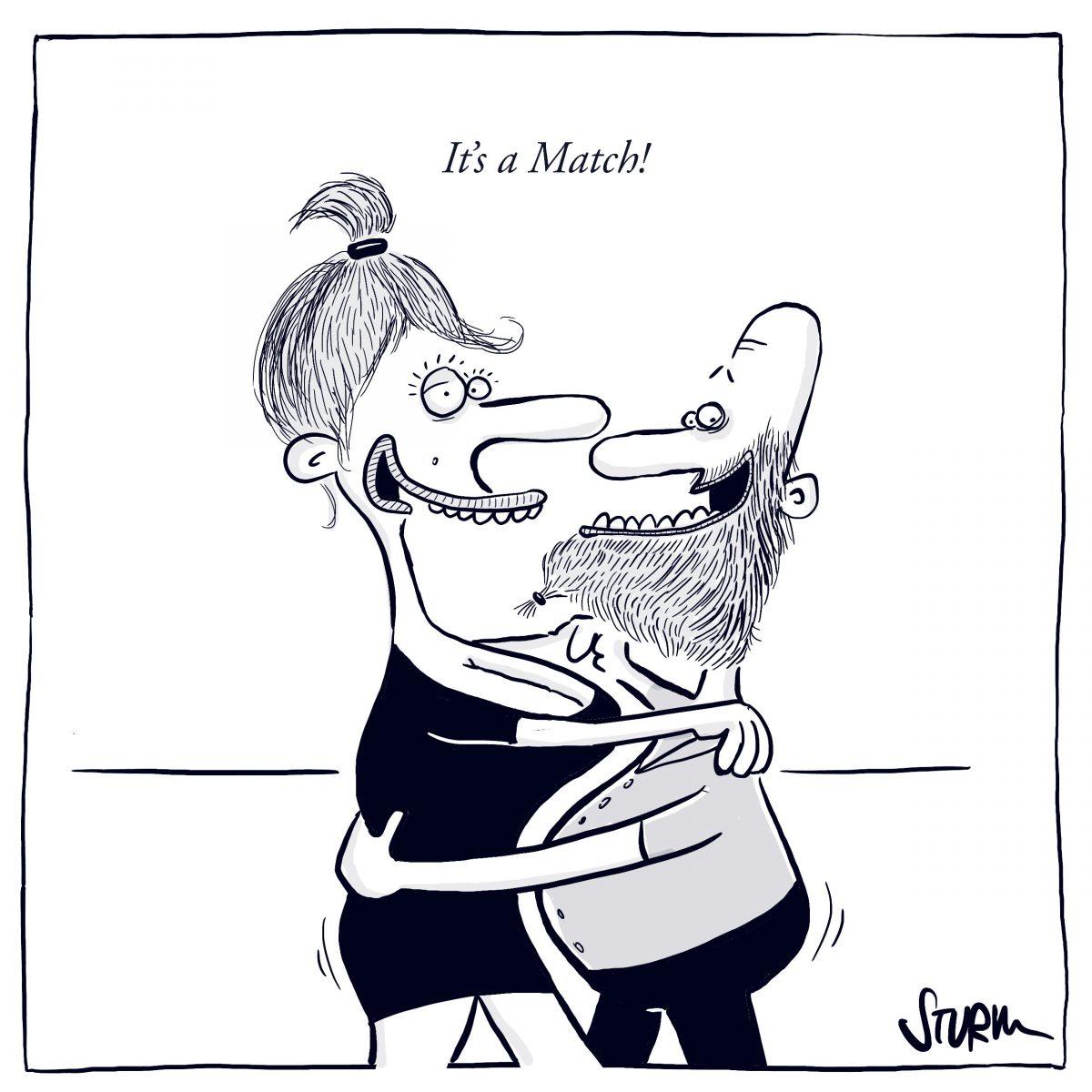 It's a Match – Cartoon von Philipp Sturm