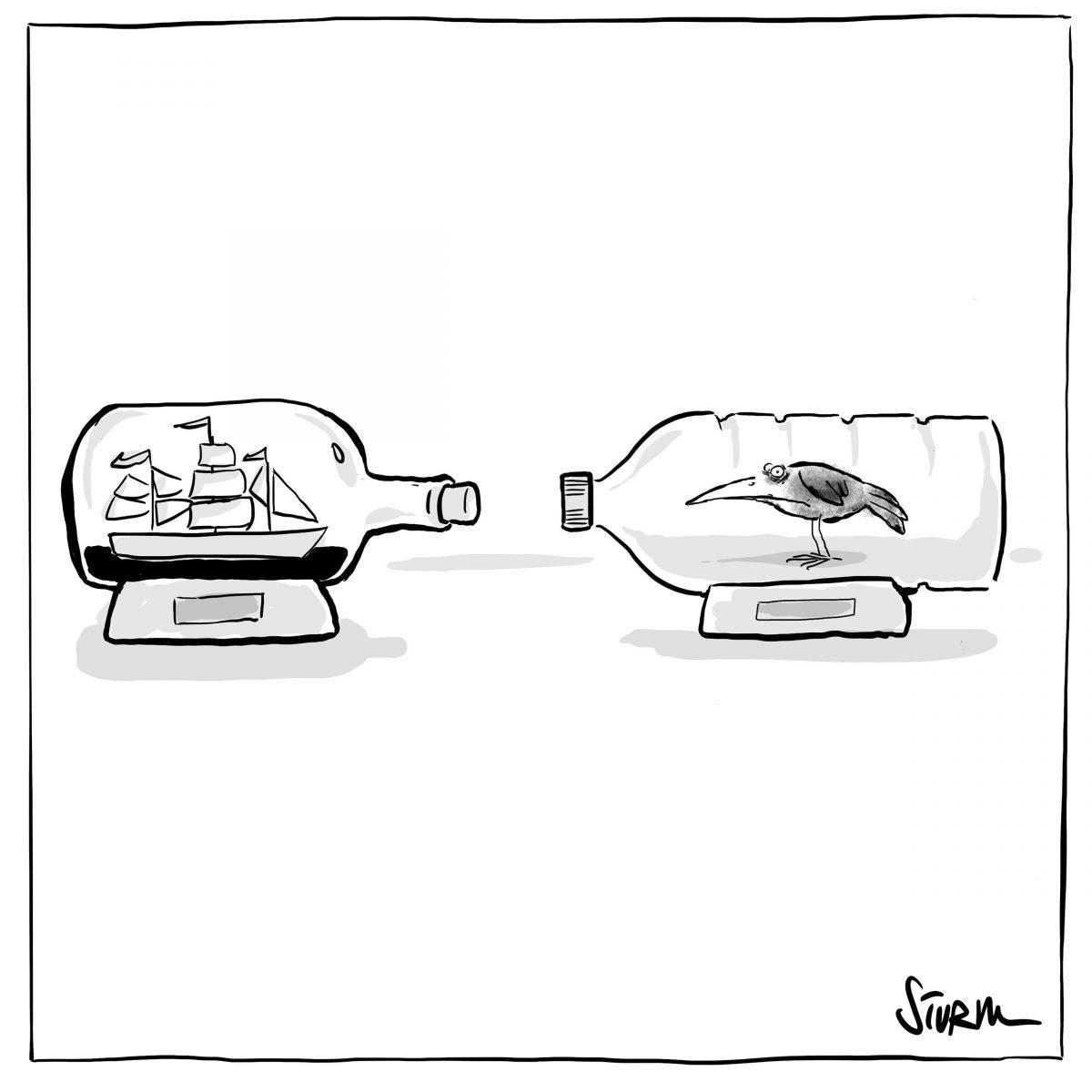 Buddelschiff / Buddelschipp –Cartoon Philipp Sturm