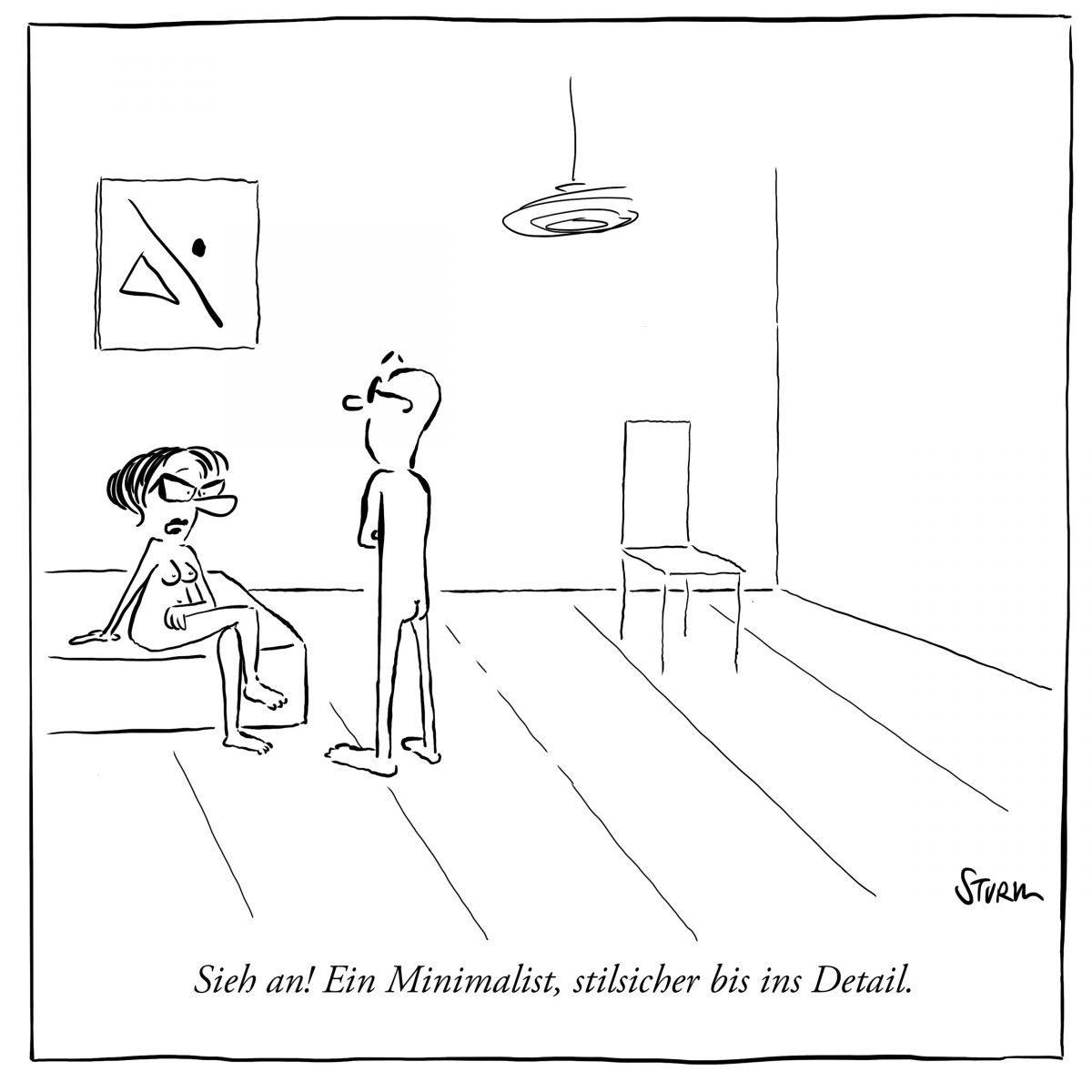 Der Minimalist, Cartoon von Philipp Sturm (Alt)