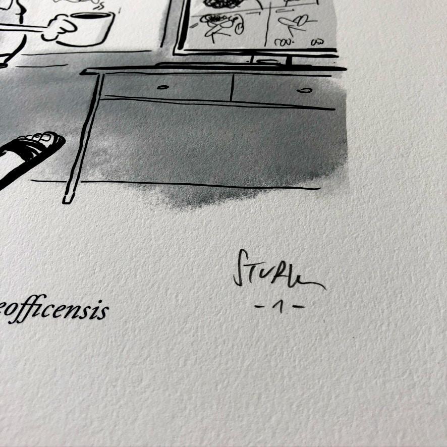 Kunstdruck Homo Homeofficensis Cartoon Philipp Sturm