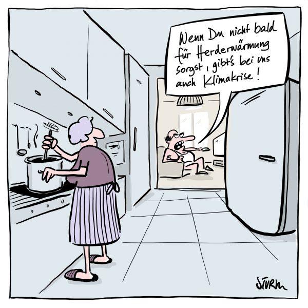Herderwärmung. Cartoon von Philipp Sturm.