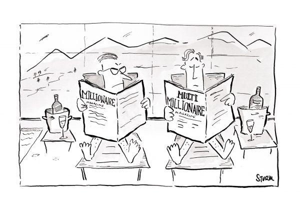 Millionär vs Multimillionär. Cartoon von Philipp Sturm.