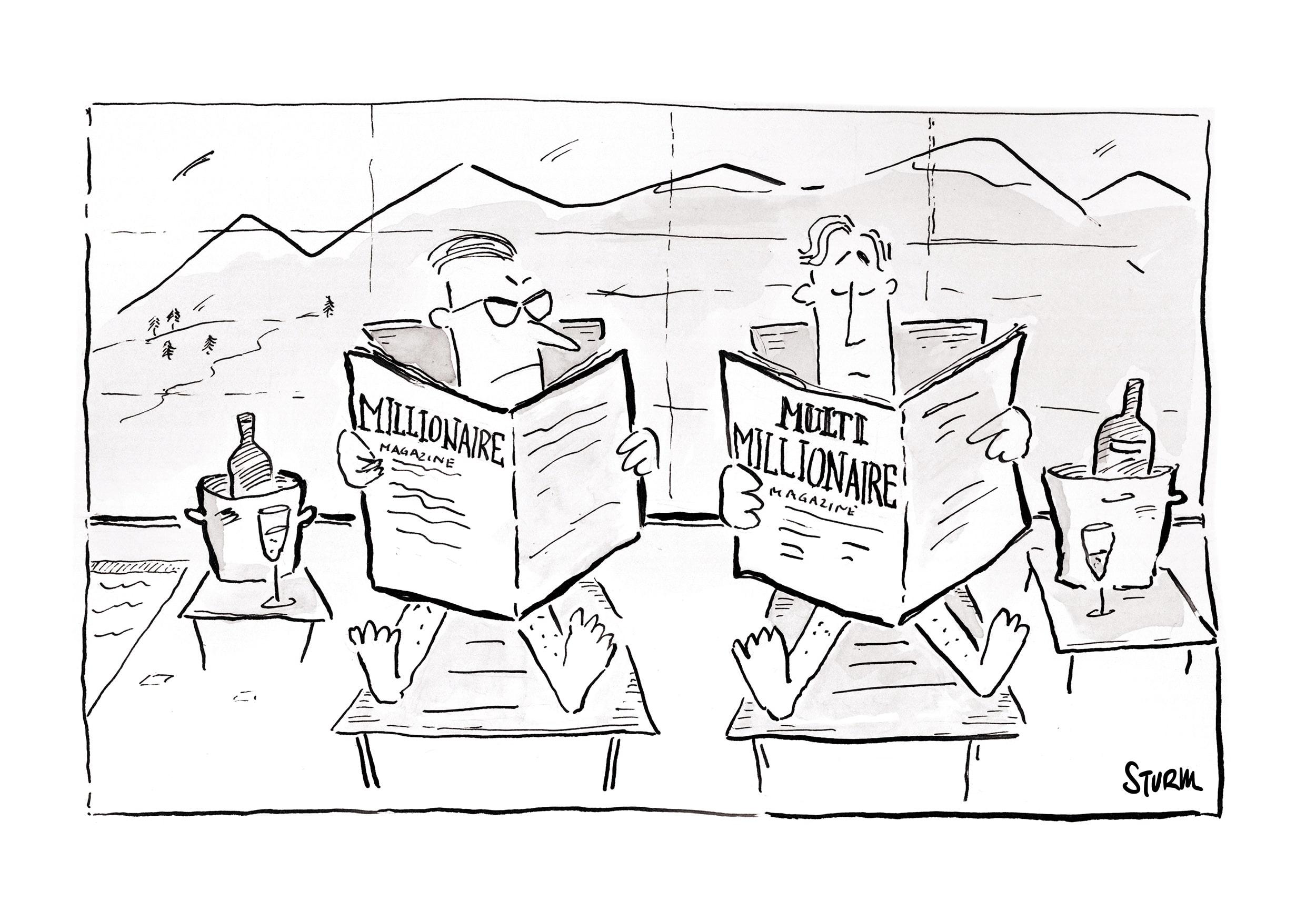 millionaire vs multimillionaire. Cartoon by Philipp Sturm.