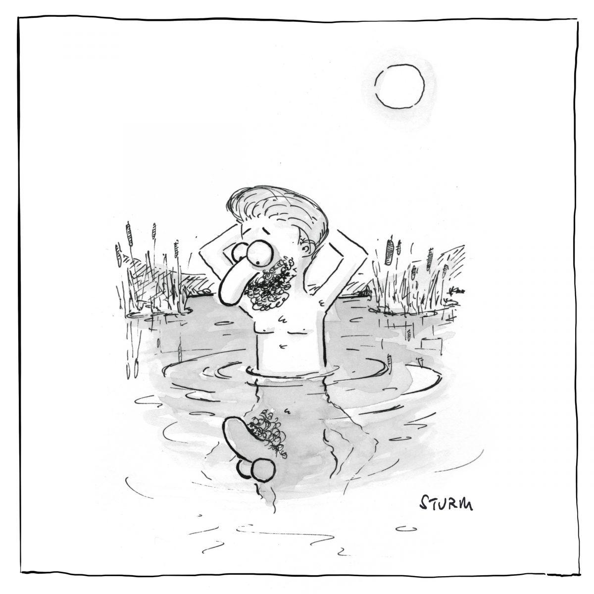 Narziss. Cartoon von Philipp Sturm.