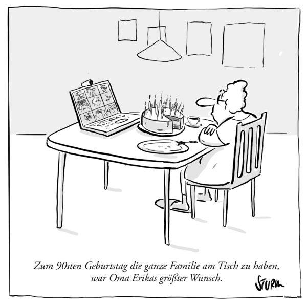Zum 90sten Geburtstag die ganze Familie am Tisch zu haben, war Oma Erikas größter Wunsch. Cartoon von Philipp Sturm