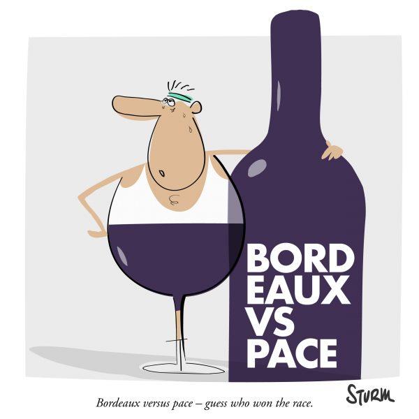 Bordeaux versus pace – guess who won the race. Prost! Cartoon von Philipp Sturm.