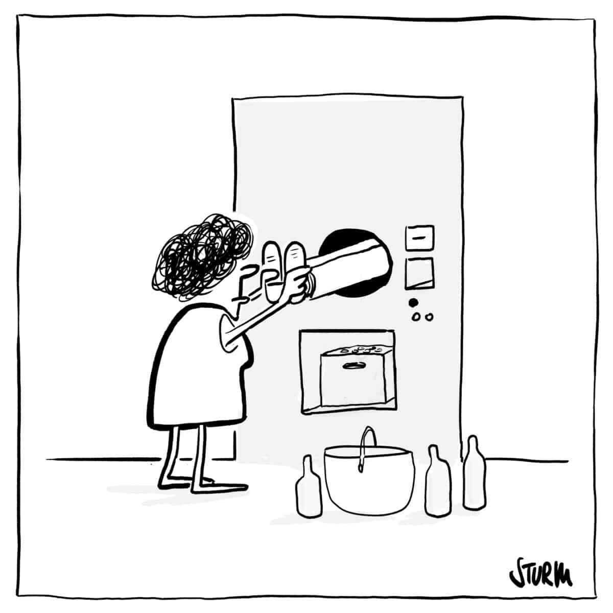 Flaschenannahme –Cartoon von Philipp Sturm
