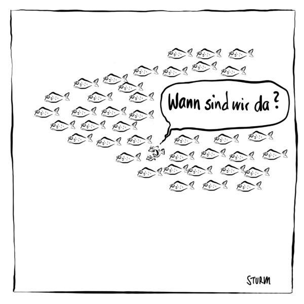 Wann sind wir da (Schwarm, Kinder, Fische) – Cartoon Philipp Sturm (weiß)