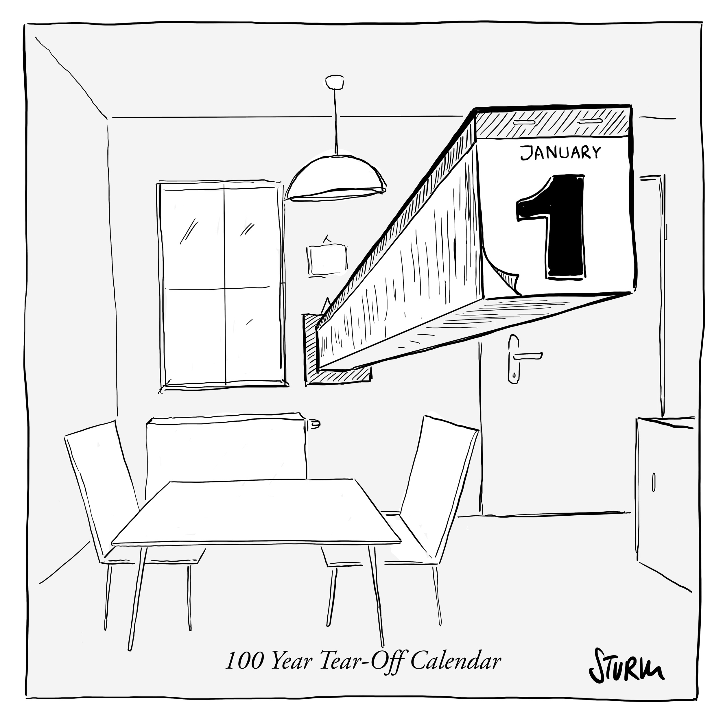 100 Year Tear-Off Calendar - Cartoon by Philipp Sturm