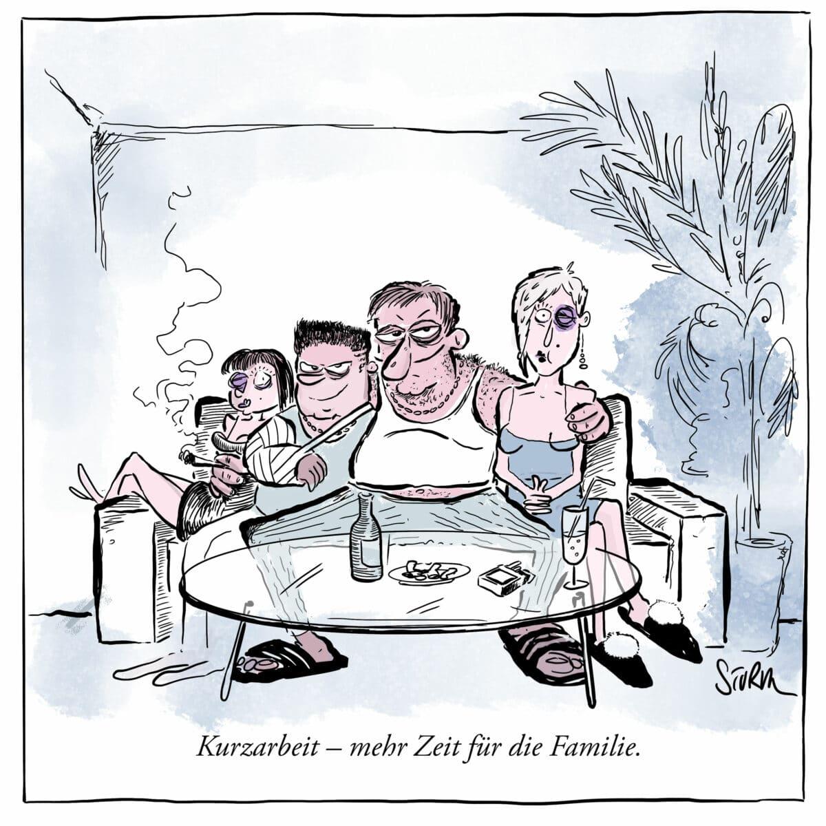 Kurzarbeit - mehr Zeit für die Familie - Cartoon von Philipp Sturm