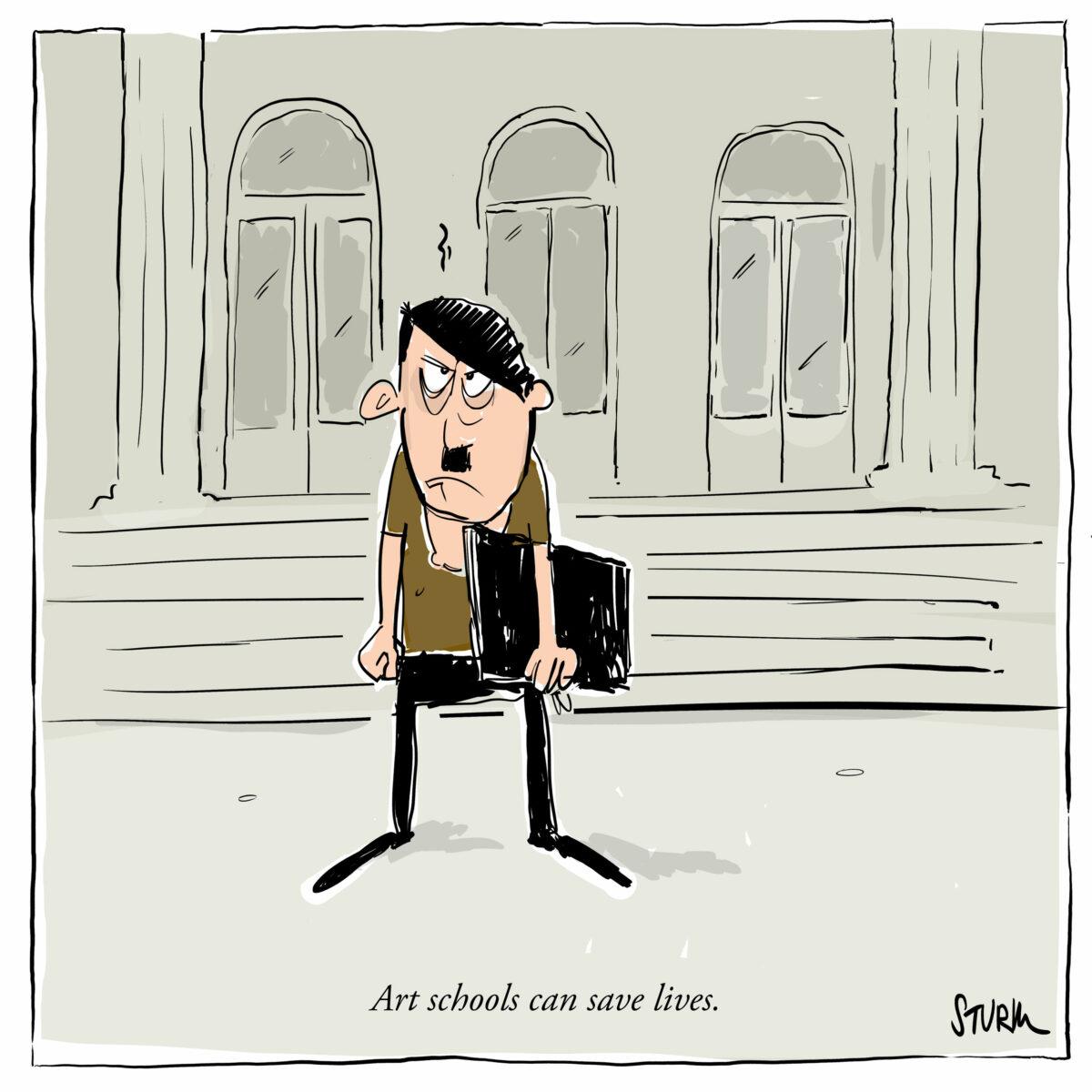 Art schools can save lives - Cartoon by Philipp Sturm