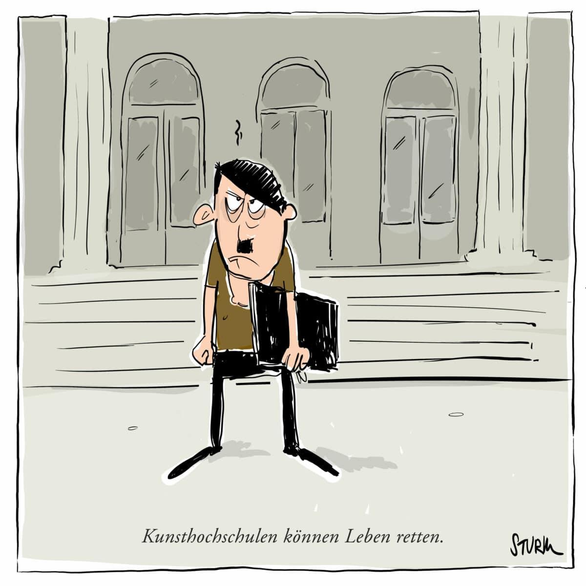 Kunsthochschulen können Leben retten - Cartoon von Philipp Sturm