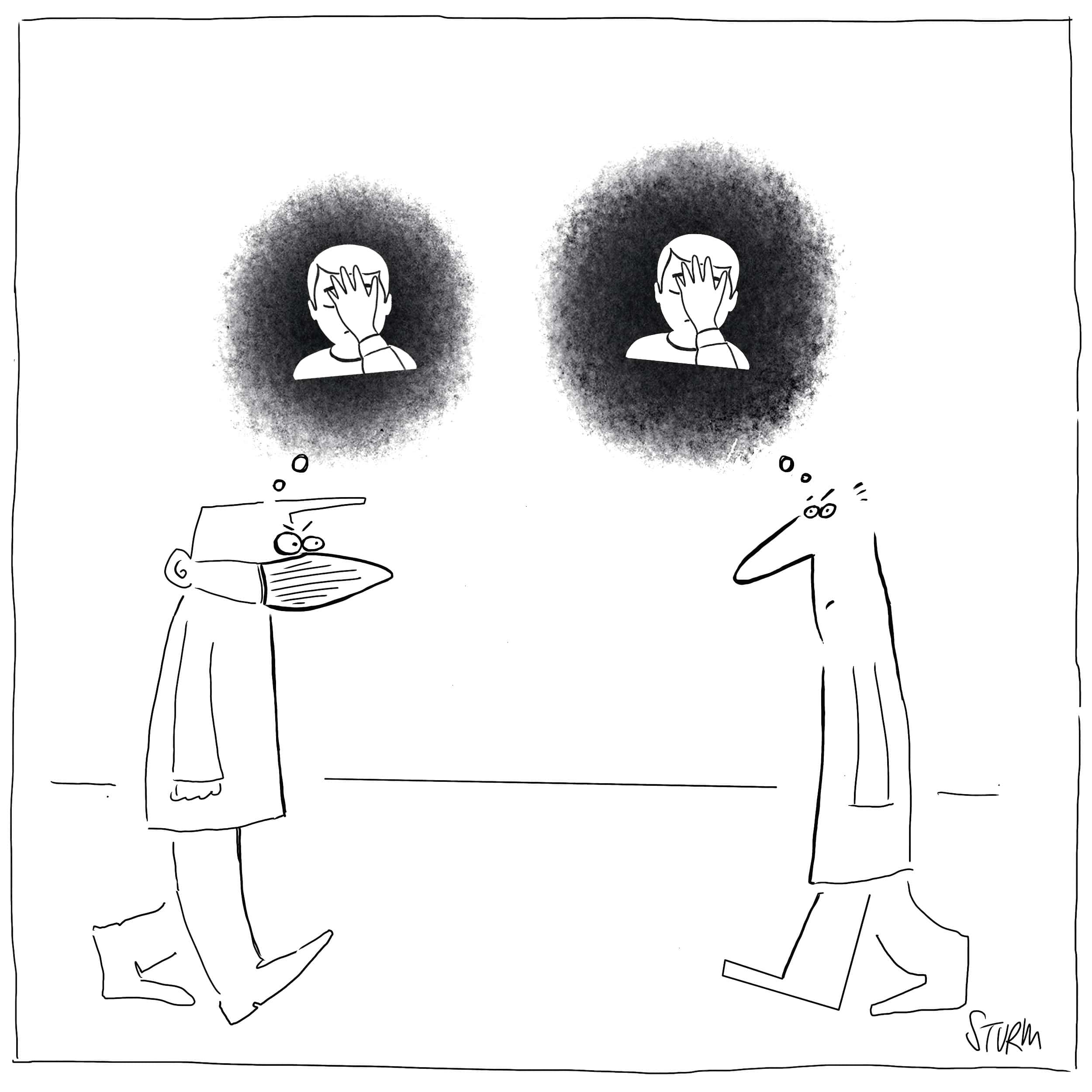 Covid Facepalm - Cartoon von Philipp Sturm