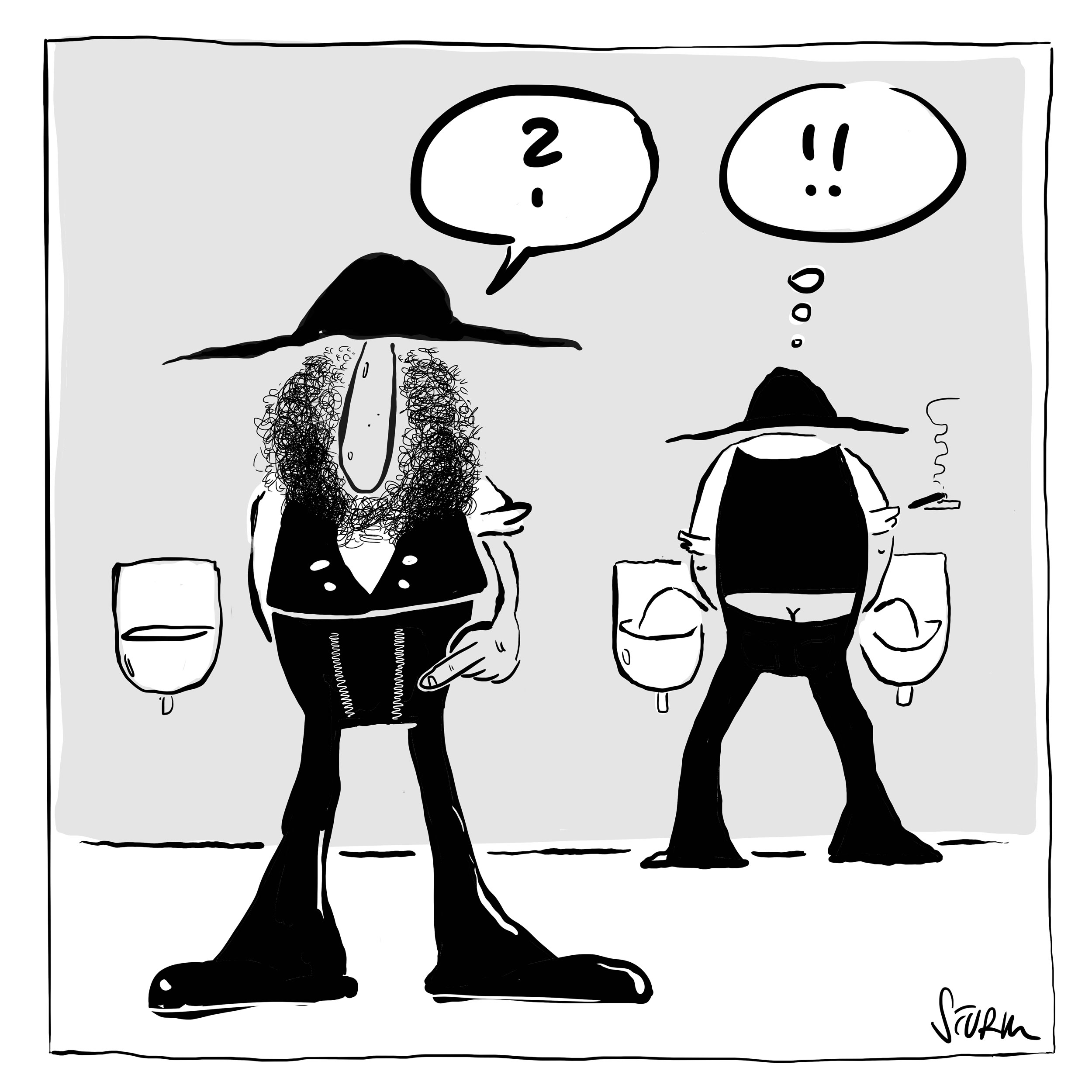 Why do guild pants have two zippers? Cartoon by Philipp Sturm