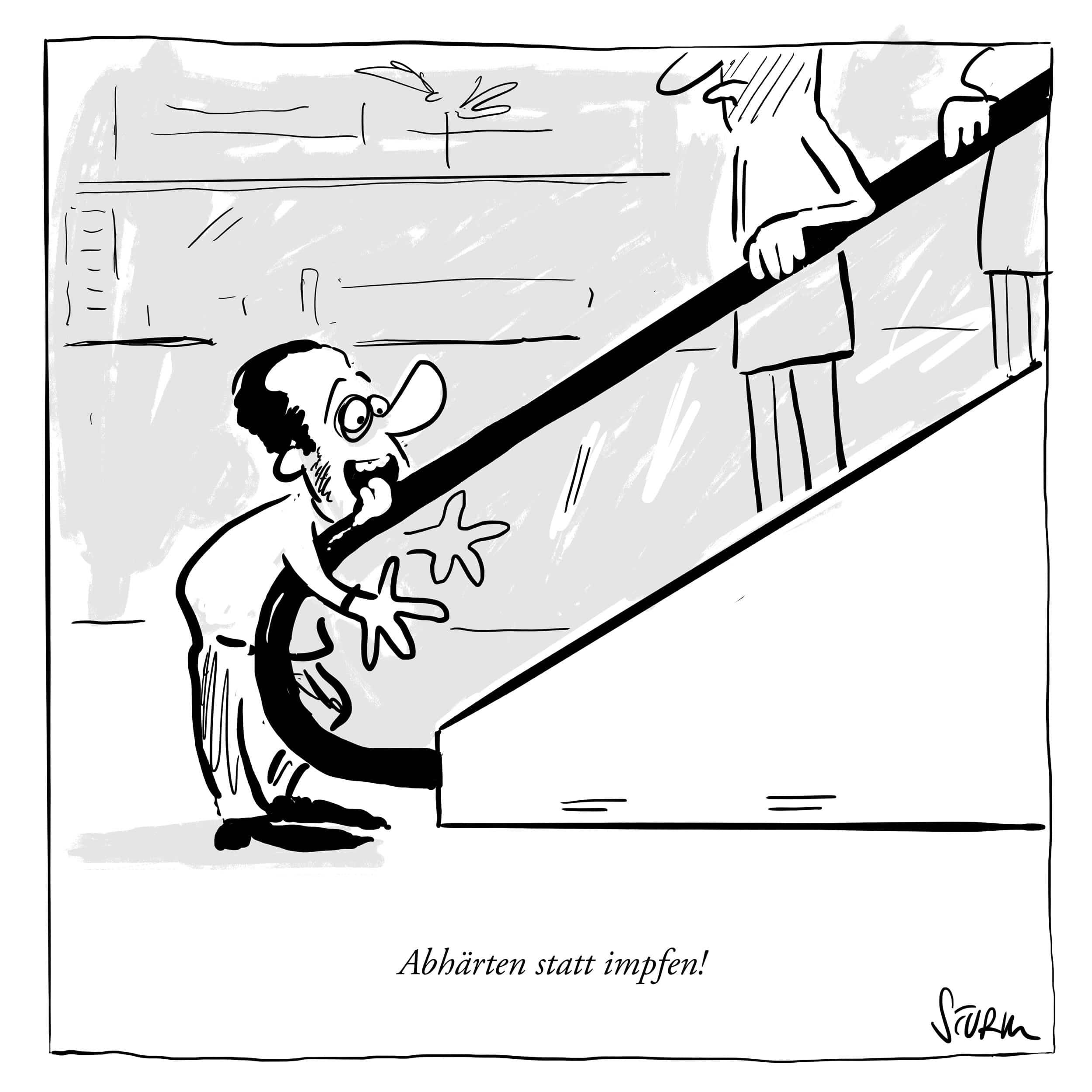 Abhärten statt impfen - Cartoon von Philipp Sturm