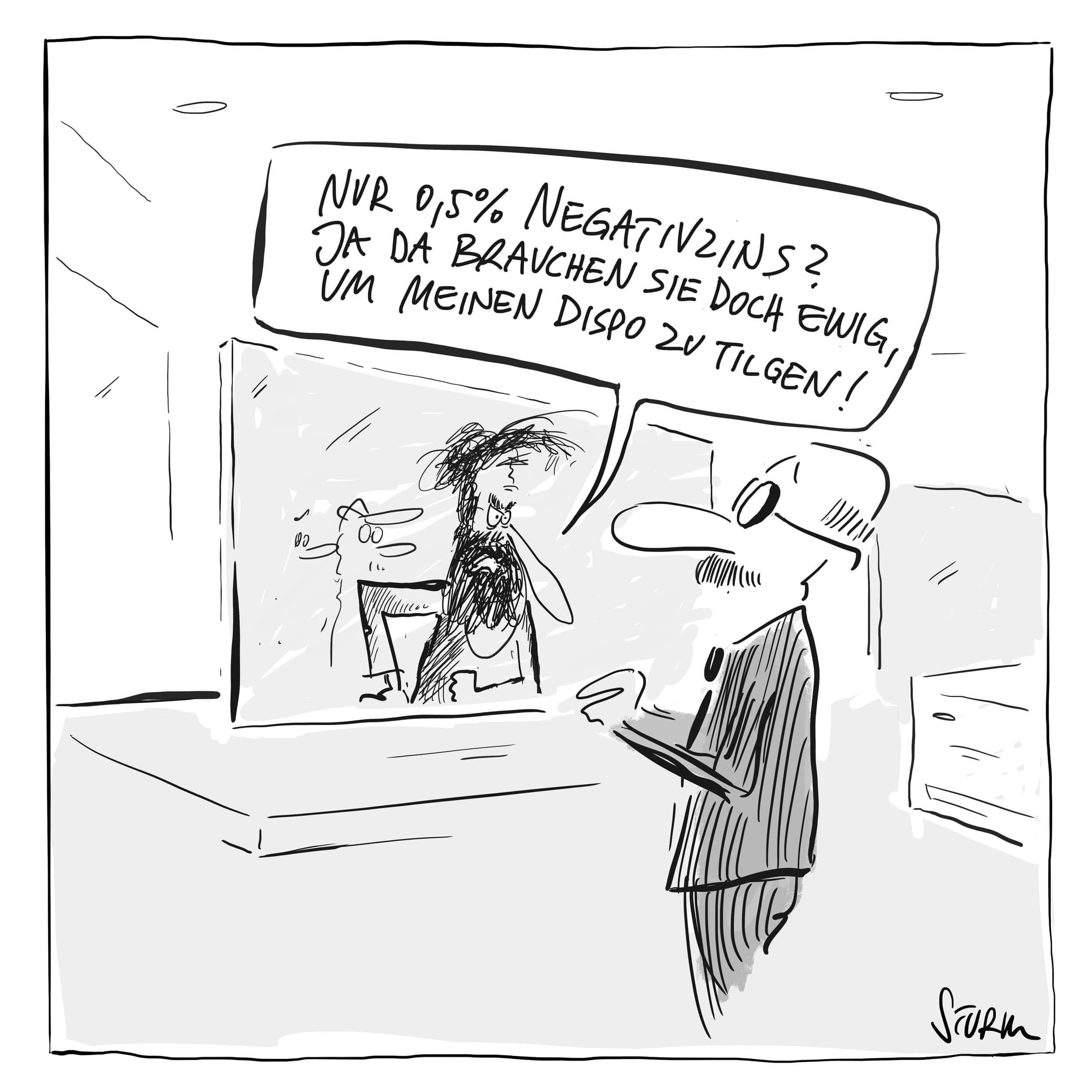 Negativzinsen helfen Schulden zu tilgen –Cartoon von Philipp Sturm