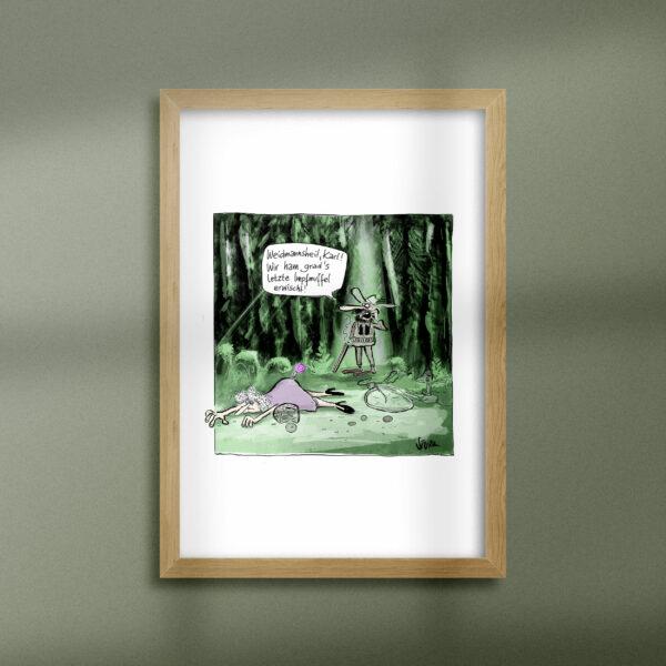 """Kunstdruck """"Impfmuffel"""" Cartoon Philipp Sturm"""