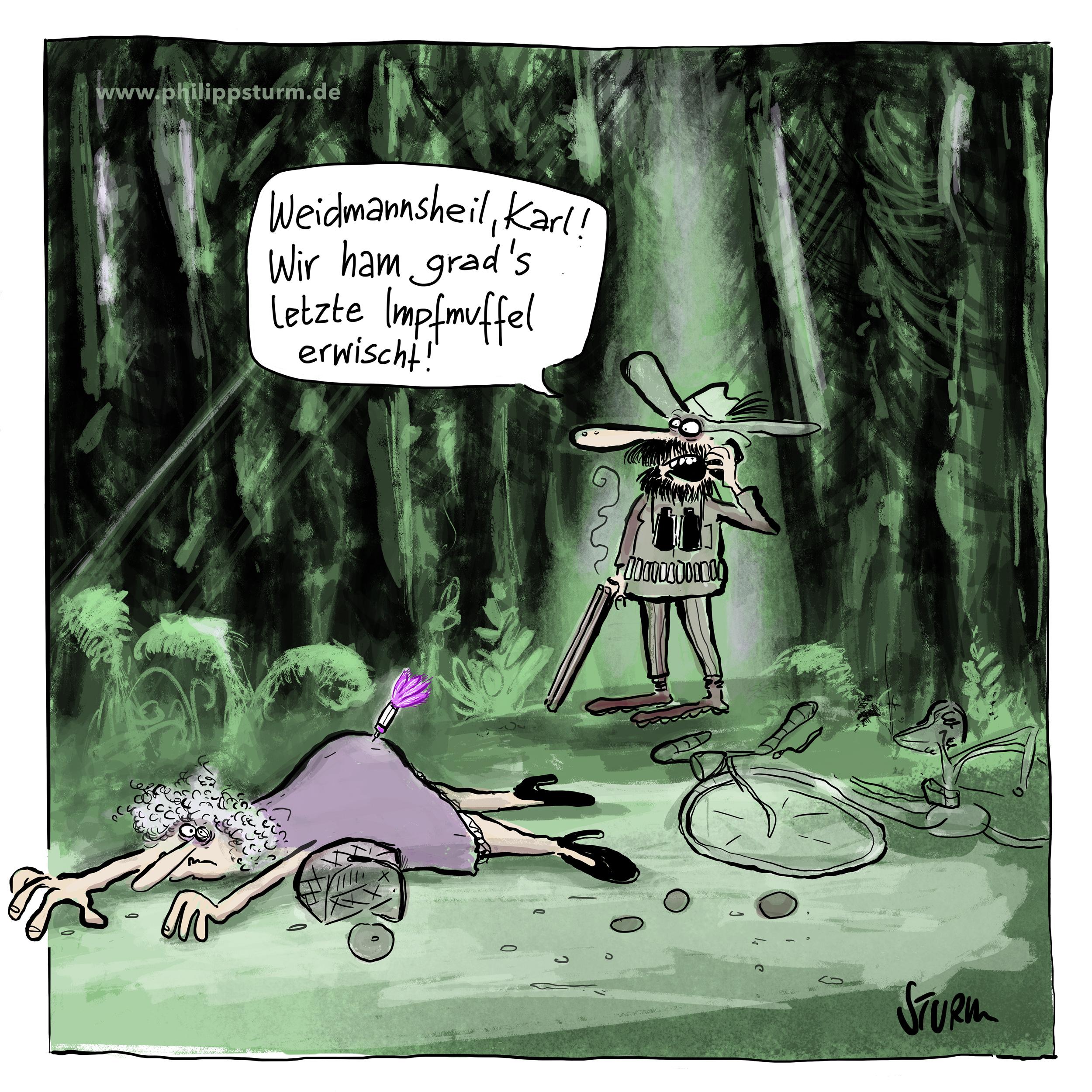 Zwangsimpfung durch den Hinterlader –Impfmuffel - Cartoon von Philipp Sturm